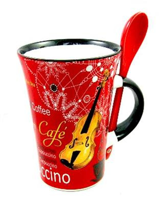 Cappuccino Mug With Spoon - Violin