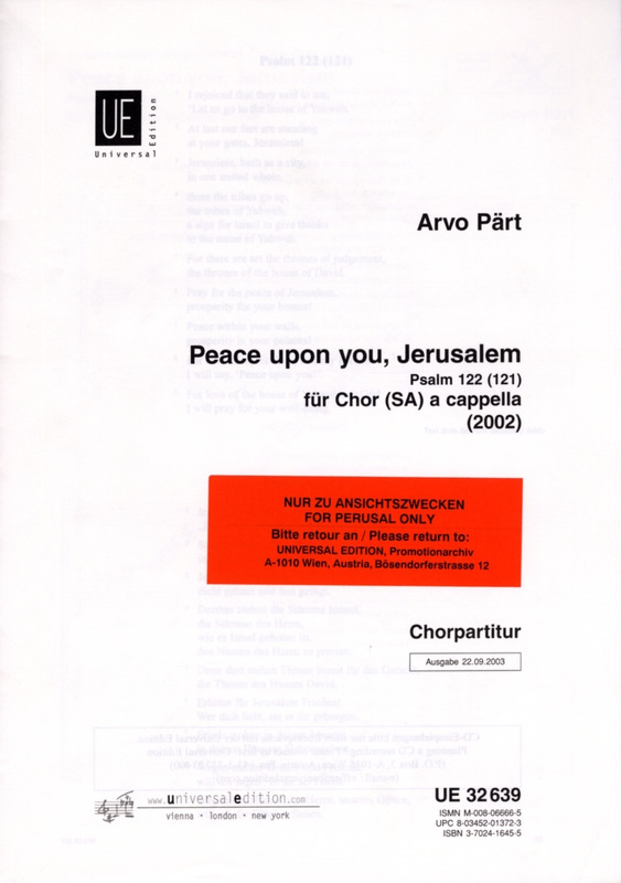 Arvo Pärt: Peace upon you, Jerusalem
