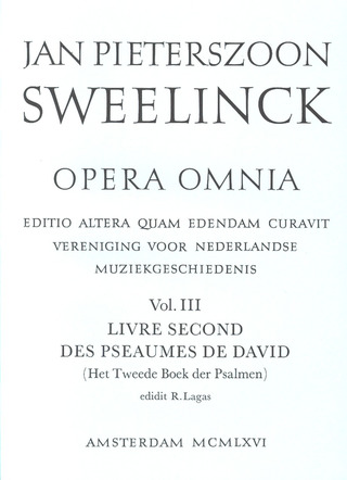 Jan Pieterszoon Sweelinck: Opera Omnia 3 – Livre second des Pseaumes de David