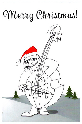 Christmas Card Double Bass Player