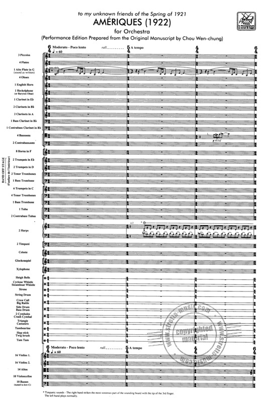 Varese Edgar: Ameriques (1922), For Orchestra (1)