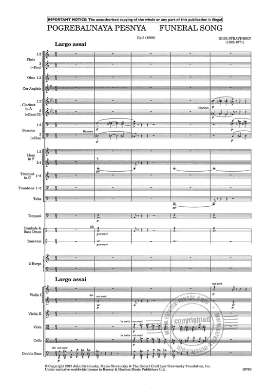 Funeral Song op 5 Stravinsky study score orchestra 9790060133572