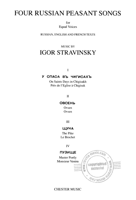 Igor Strawinsky: Four Russian Peasant Songs (Upper or Lower Voices)