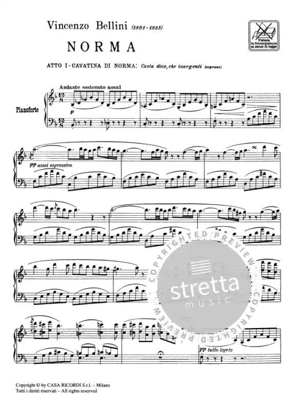 Casta Diva Dall Opera Norma Per Canto E Pianoforte From Vincenzo Bellini Buy Now In Stretta Sheet Music Shop