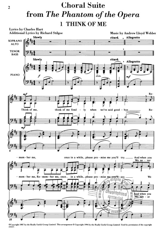 Phantom Of The Opera Choral Suite (Turner) Satb / Pf from