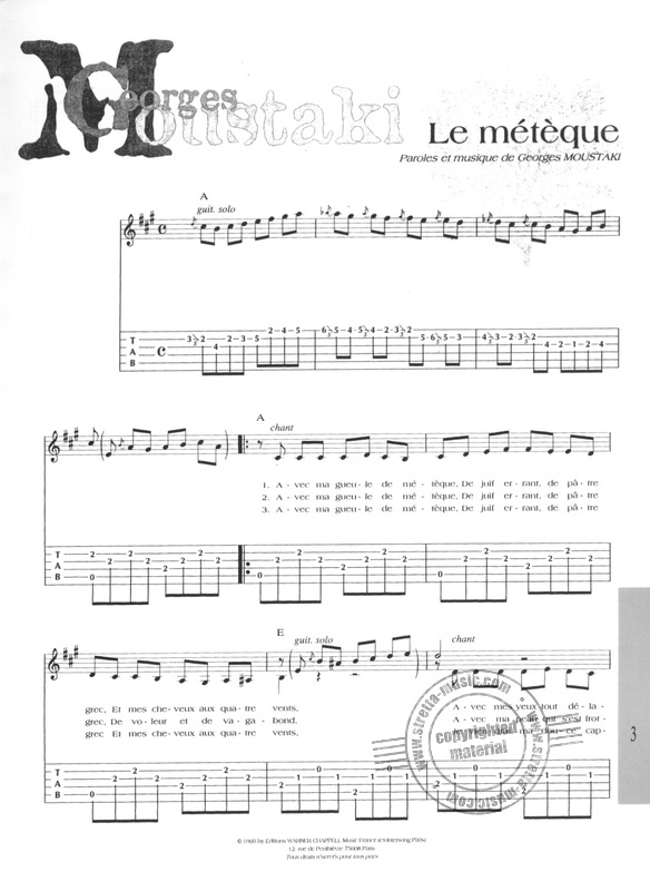 Spécial guitare tabulatures from Moustaki, Georges | buy now