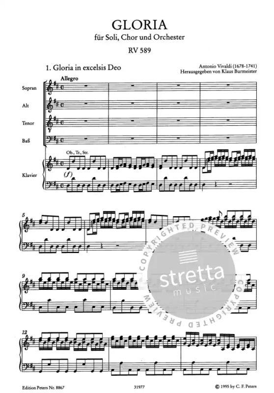 Soli Vivaldi Gloria D-Dur CHor und Orchester RV 589