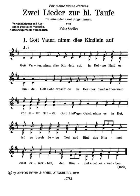 2 Lieder Zur Taufe Von Goller Fritz Im Stretta Noten Shop