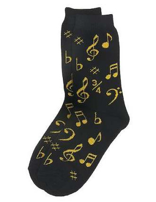 Women's Socks: Notes (Black/Gold)