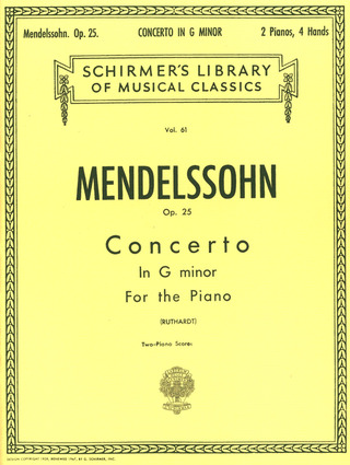 Felix Mendelssohn Bartholdy: Concerto No.1 in G Minor for the piano op.25 (2 Piano Score)