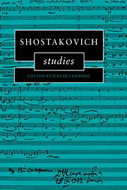 David Fanning: Shostakovich Studies 1