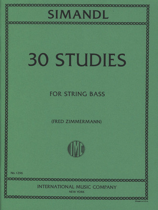 Franz Simandl: 30 Studies For The Developement Of Tone
