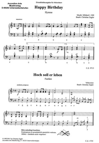Jetelina Akkordeonmusik Birthday Fun Mit 2 Stimme Noten