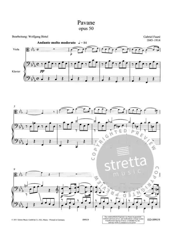 sheet music; Faur.; Birtel Pavane op ED0 9919 50 Wolfgang.; viola and piano