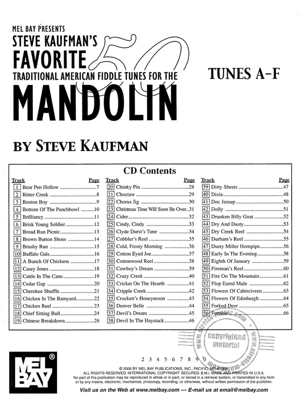 Steve Kaufman: Favorite 50 Traditional American Fiddle Tunes For The Mandolin (1)