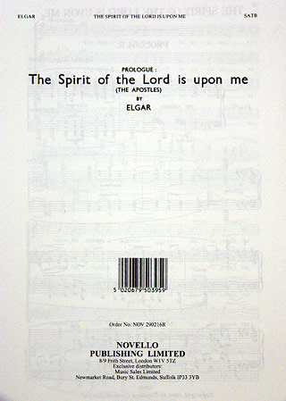 Edward Elgar: Elgar, E The Spirit Of The Lord From The Apostles Satb/Pf