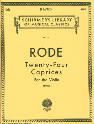 Pierre Rode: Rode 24 Caprices (Berkley) Solo Violin