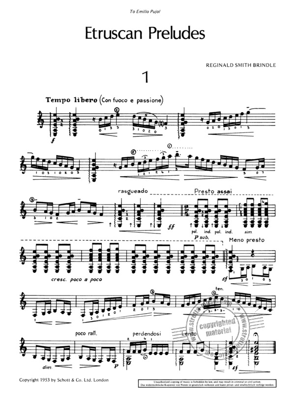 Reginald.; guitar sheet music; Smith Brindle Etruscan Preludes ED 11458