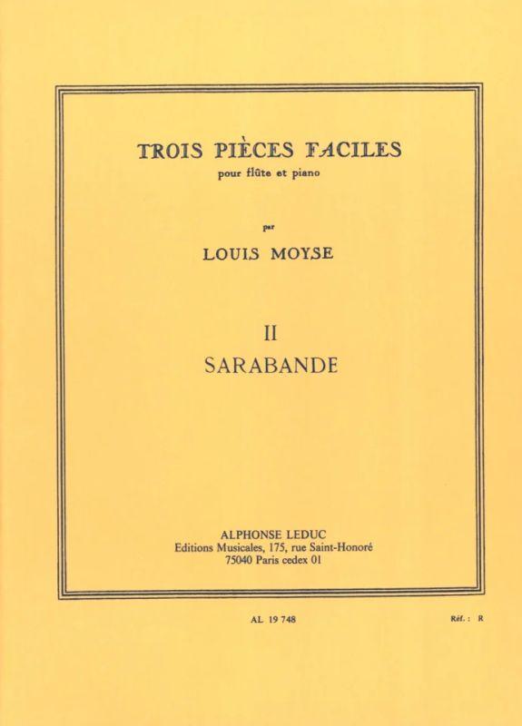 Louis Moyse Trois pièces faciles pour flûte et piano partition éditions Leduc