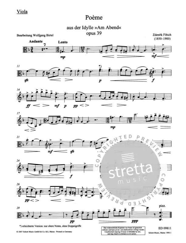 Poème Op 39 1893 From Zdeněk Fibich Buy Now In Stretta