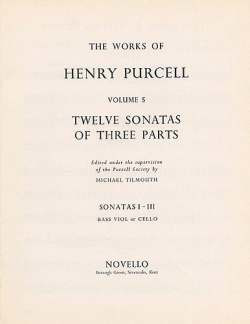 Henry Purcell: Purcell, H 12 Sonatas Of Three Parts 1-3 Vlc/Db