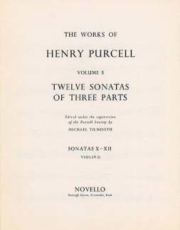 Henry Purcell: Purcell, H 12 Sonatas Of Three Parts 7-9 Vln 1