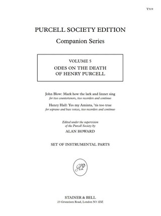 John Blow y otros.: Odes on the Death of Henry Purcell
