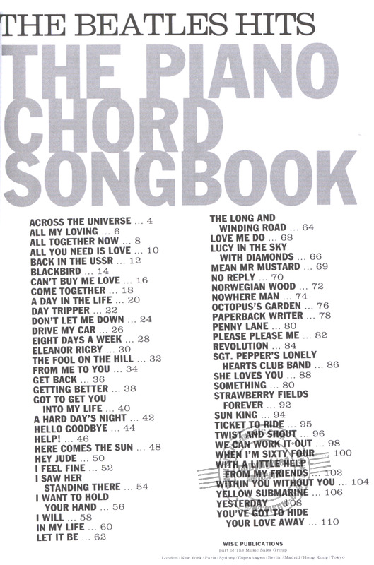 Beatles The Hits Piano Chord Songbook