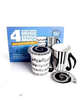 Four Mugs with Music Symbols