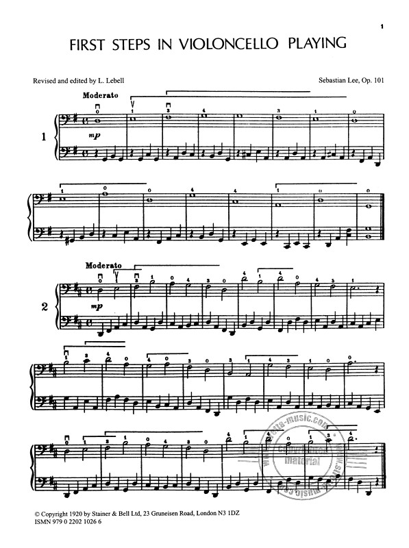 Sebastian Lee: First Steps For Cello Op 101 (1)