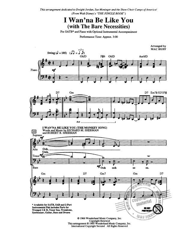 I Wan Na Be Like You With The Bare Necessities Buy Now In Stretta Sheet Music Shop