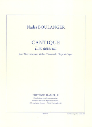 Boulanger Nadia: Cantique (Lux aeterna)