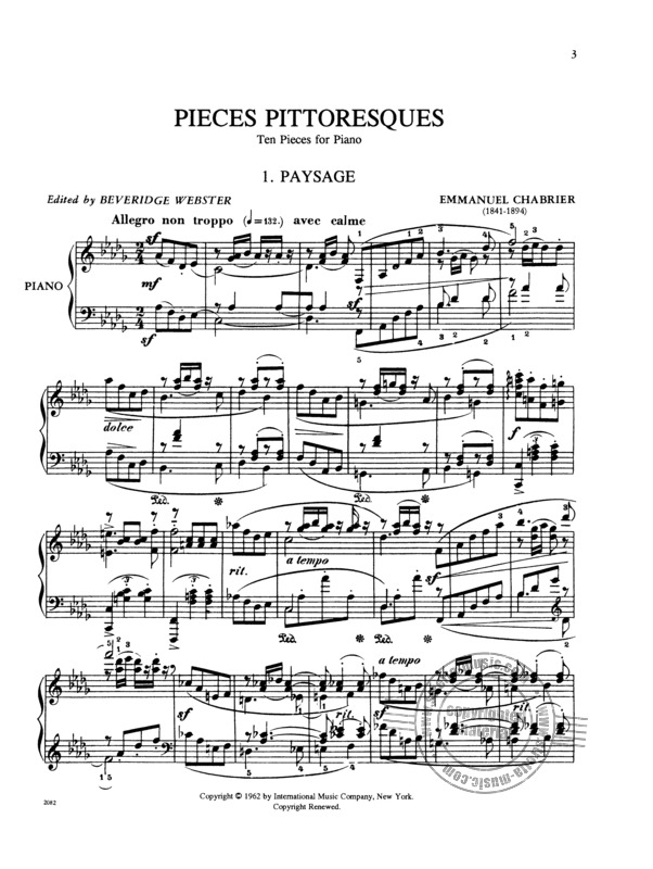 Emmanuel Chabrier: Pieces Pittoresques - 10 Stuecke (1)