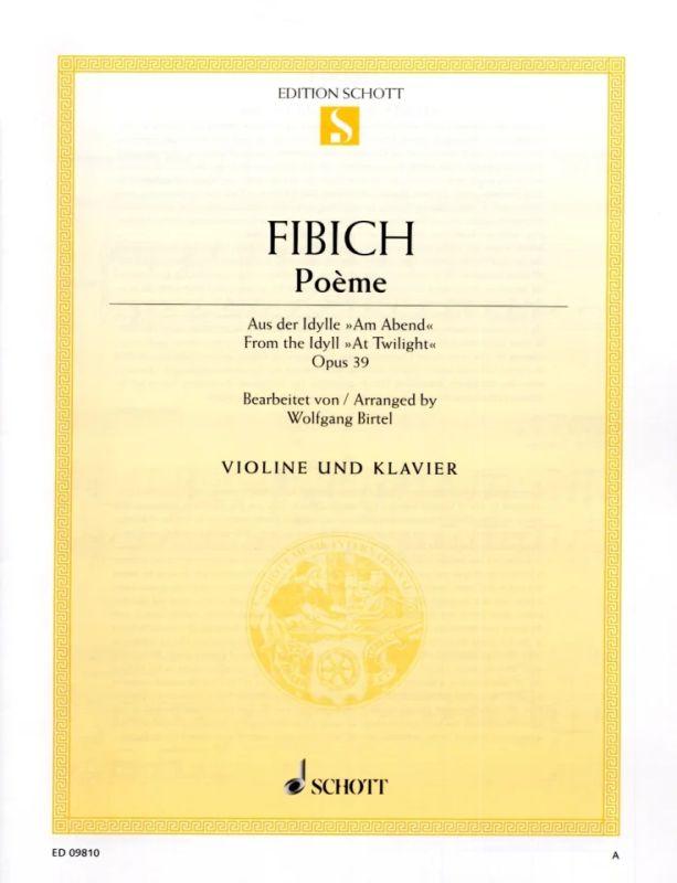 Poème Op 39 1893 De Zdeněk Fibich Acheter Dans Le