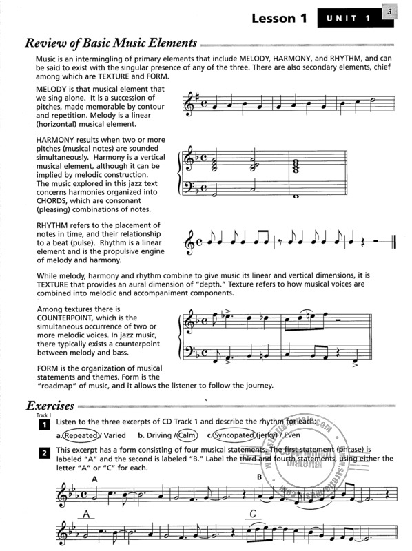 Shelly Berg: Alfred's Essentials of Jazz Theory – Teacher's Answer Key (1)