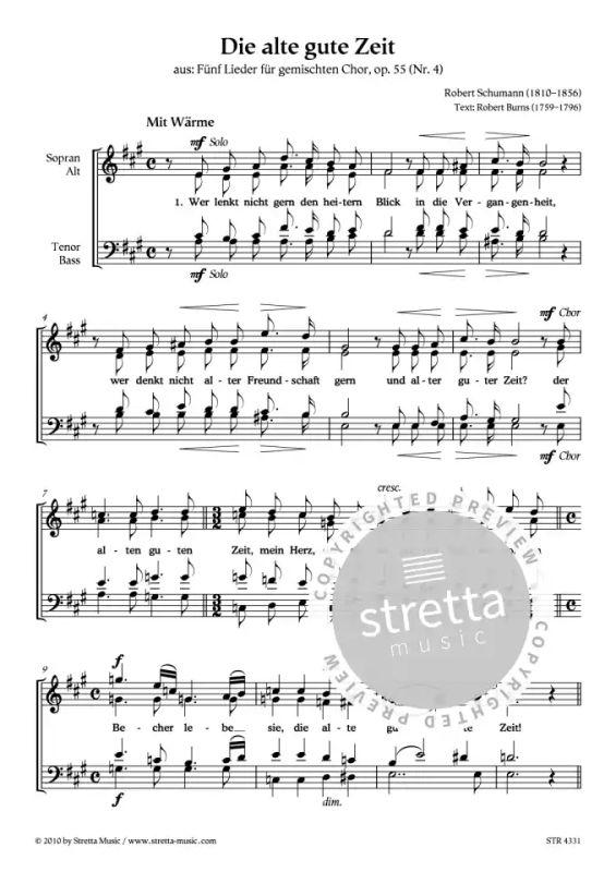 Die alte gute Zeit von Robert Schumann | im Stretta Noten