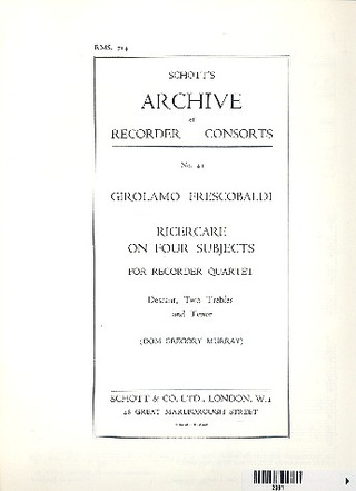 Girolamo Frescobaldi: Ricercare on 4 Subjects