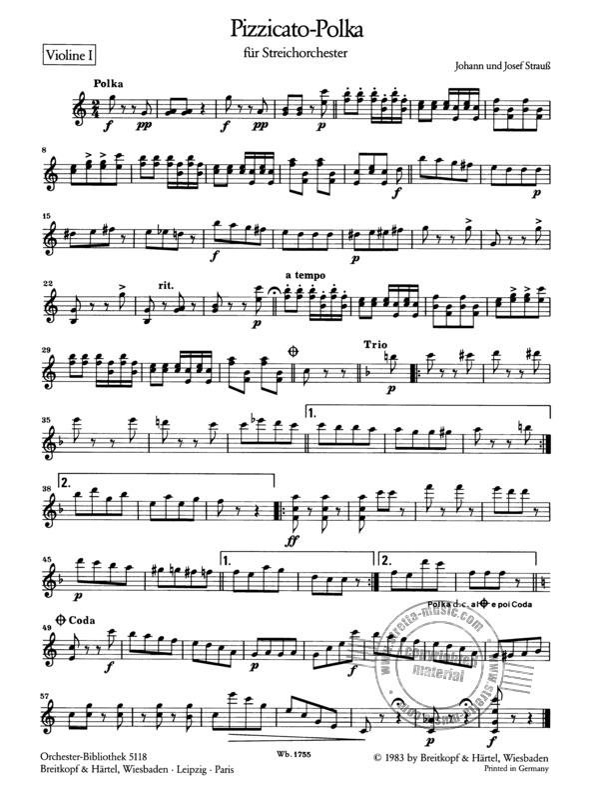Pizzicato Polka From Josef Strauss Et Al Buy Now In