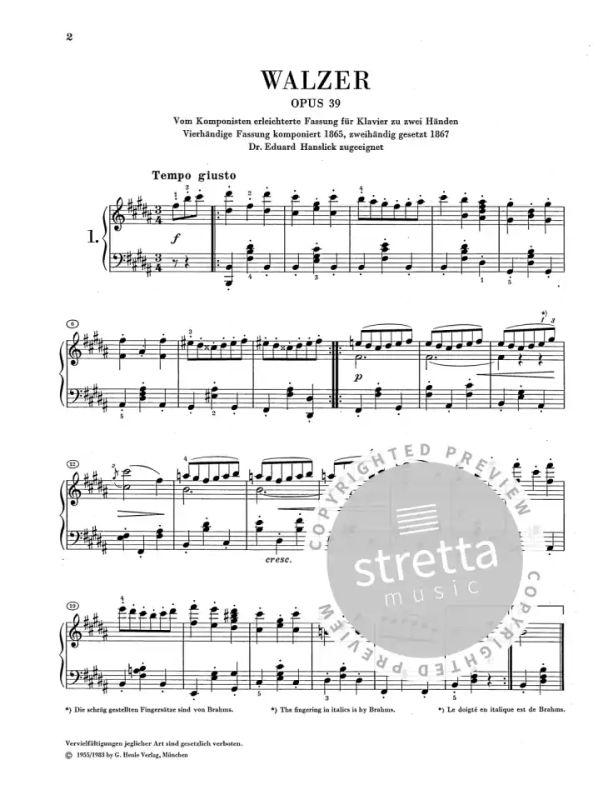Walzer Op 39 From Johannes Brahms Buy Now In Stretta