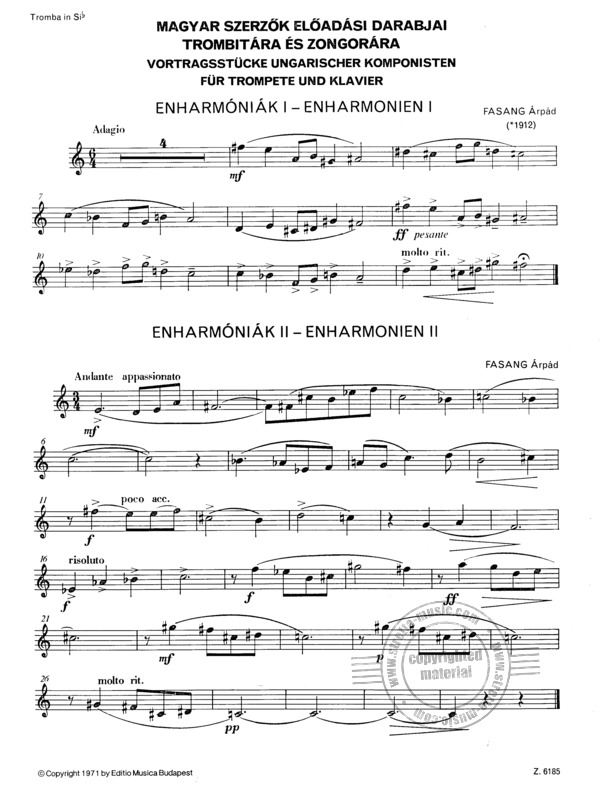 Performance Pieces by  hungartian composers for trumpet and piano (3)