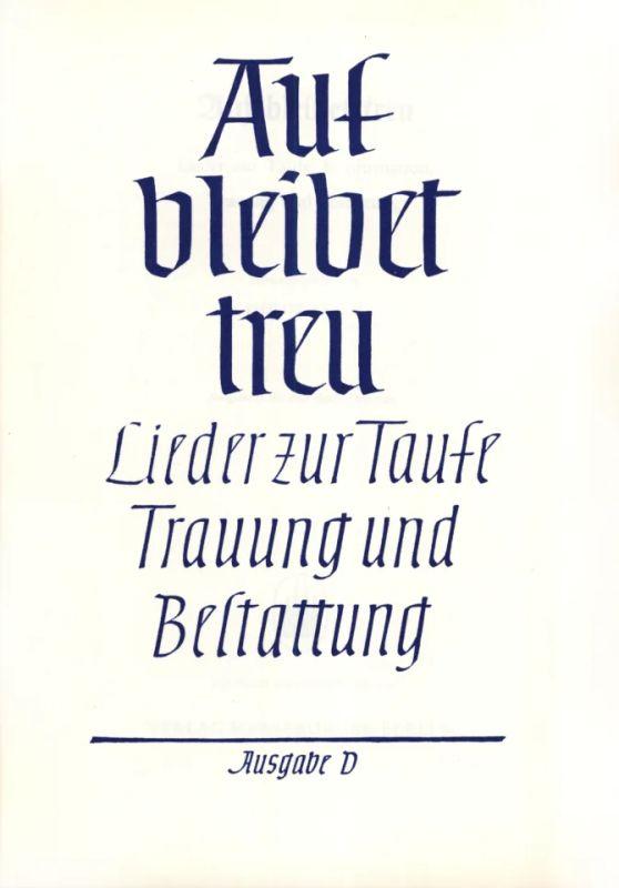 Auf Bleibet Treu Lieder Zur Taufe Buy Now In Stretta