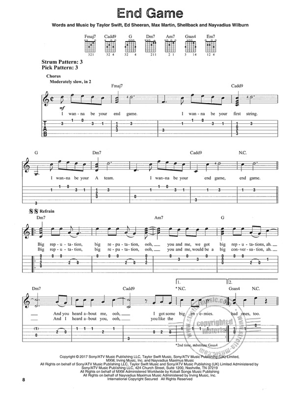 Taylor Swift Reputation Easy Guitar Buy Now In Stretta Sheet Music Shop