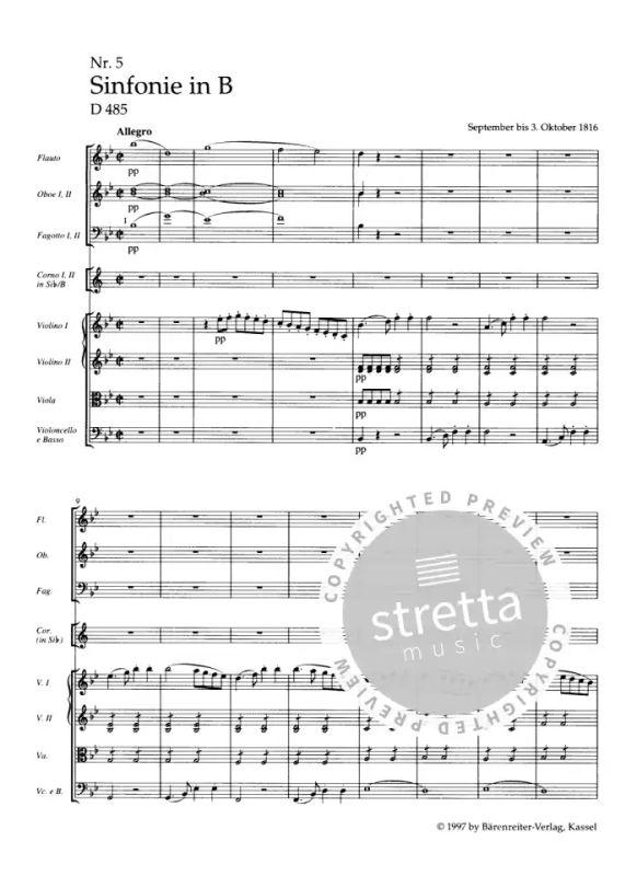 Symphony No 5 in B-Flat Major in Full Score