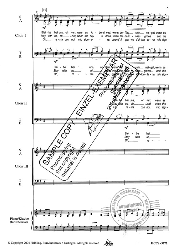 Lorenz Maierhofer: Bleibe bei uns, oh Herr/Stay with Us, oh Lord/O, resta con noi SATB - SATB - SATB (Chor-Kanon) und Sopran- oder Tenor-Solo (2)