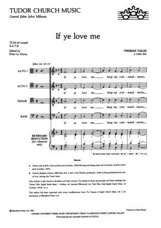 Thomas Tallis: If Ye Love Me