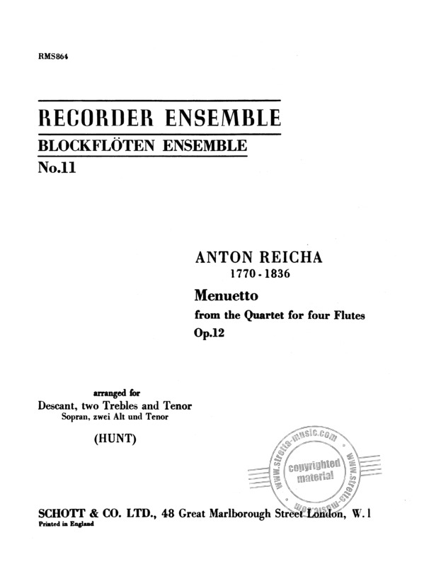 Anton Reicha: Menuetto from the quartet for 4 flutes op. 12