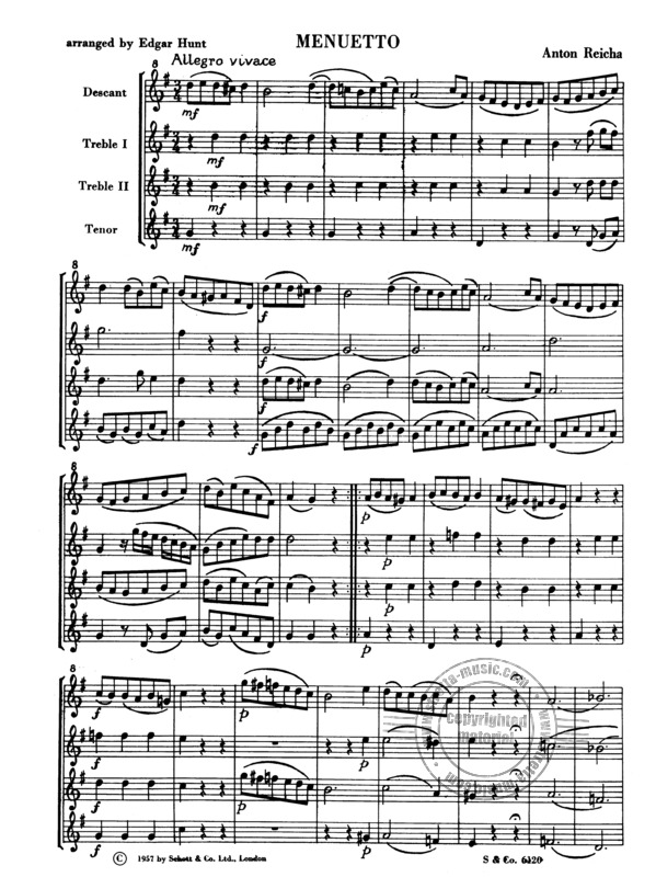 Anton Reicha: Menuetto from the quartet for 4 flutes op. 12 (1)
