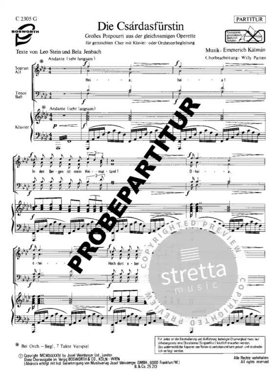 """Emmerich Kalman ~ Großes Potpourri aus /"""" Die Csardasfürstin /"""" für Klavier"""