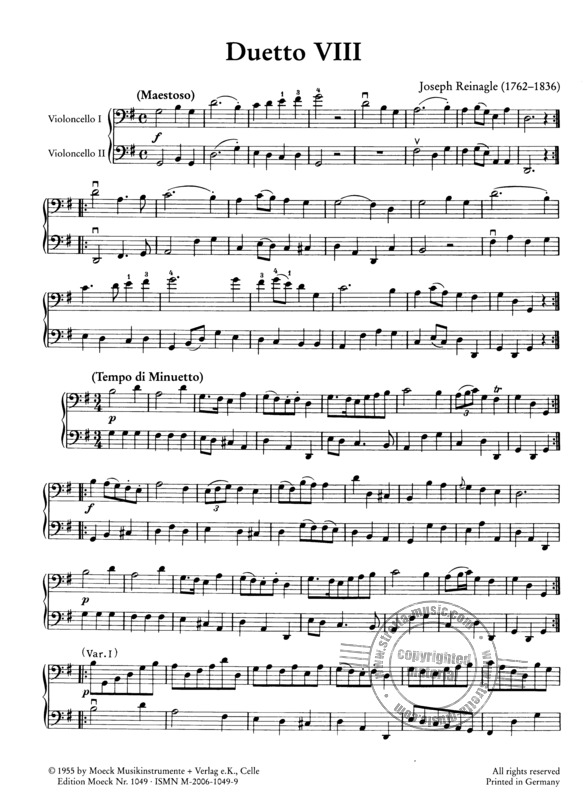 "Reinagle, Joseph: Zwölf leichte Violoncello-Duette ""for the use of beginners"" (1)"