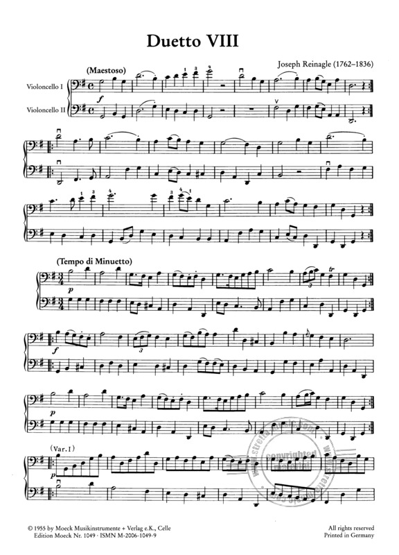 "Reinagle, Joseph: Zwölf leichte Violoncello-Duette ""for the use of beginners"" (2)"